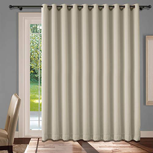 cololeaf Extra Wide Patio Door Curtains Thermal Insulated Blackout Patio Curtains Sliding Door Insulated Drape Soundproof Room Divider Curtains Grommet Top - Beige 120W x 84L Inch (1 Panel)