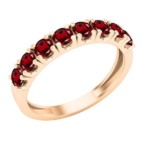 Dazzlingrock Collection Anillo de boda clásico de 3 mm con piedras preciosas redondas o diamantes para mujer, varios metales disponibles en oro de 10 K/14 K/18 K, granate Oro rosa., Garnet,