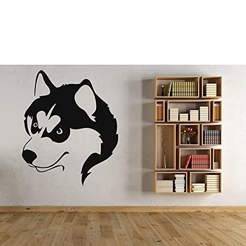 Huskies pared calcomanía vinilo animal cartel pared pegatina encantador perro husky para niños niña dormitorio sala de estar casa decoración del hogar-68x57cm