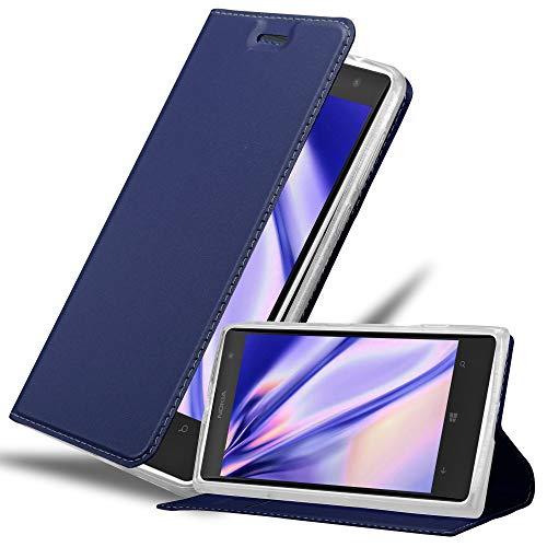 Cadorabo Custodia Libro per Nokia Lumia 1020 in Classy Blu Scuro – con Vani di Carte, Funzione Stand e Chiusura Magnetica – Portafoglio Cover Case Wallet Book Etui Protezione
