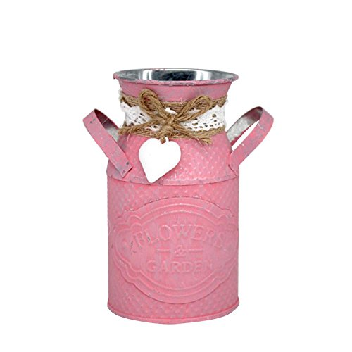 Metalen bloemenvaas Oude Fashioned Vintage Desktop Cilinder Planter Vaas Pot Decoratieve Jug Vazen voor Home Office Decoratie Ambachtelijke Decoratie Tuin roze