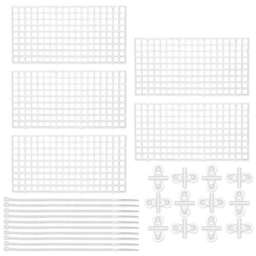 Wandou - Divisorio per acquario, 5 pezzi, divisorio per acquario, divisorio con 10 ventose e 10 fascette per cavi (bianco)
