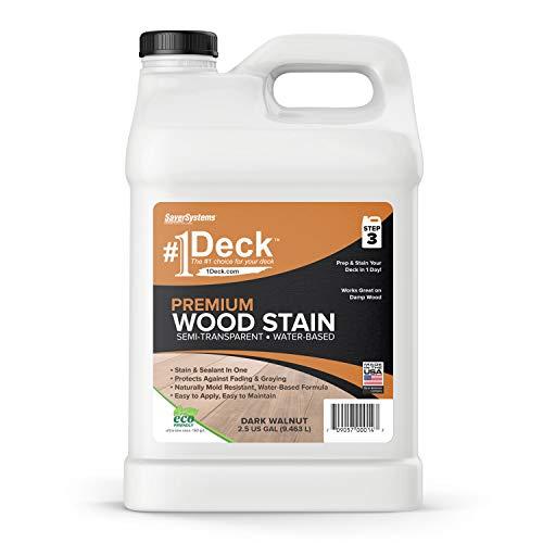 #1 Deck Premium Semi-Transparent Wood Stain for Decks, Fences, Siding - 2.5 Gallon (Dark Walnut)
