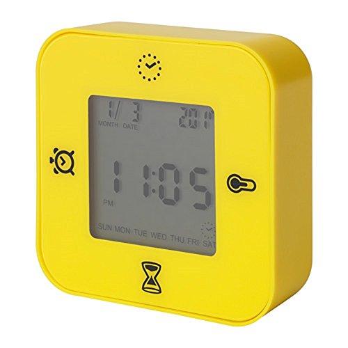 IKEA/イケア KLOCKIS:時計/温度計/アラーム/タイマー イエロー (003.848.28)