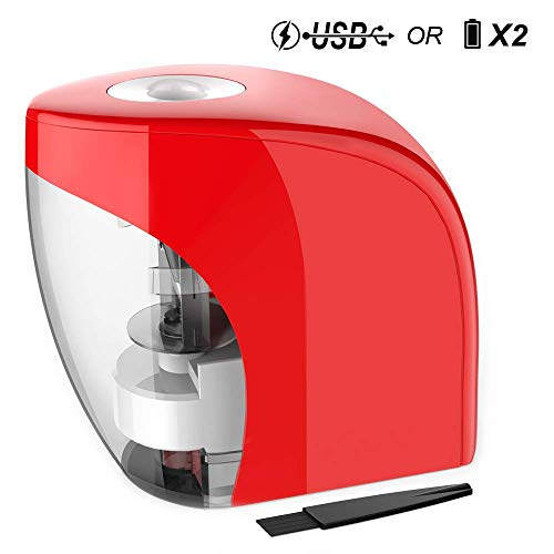Electric Pencil Sharpener Automatic Sharpener for No.2 Pencils and Colored Pencils (6-8mm) with Auto Stop Feature & Extra Cleaning Brush, USB/Battery Operated in Home/Classroom/Office (Red)