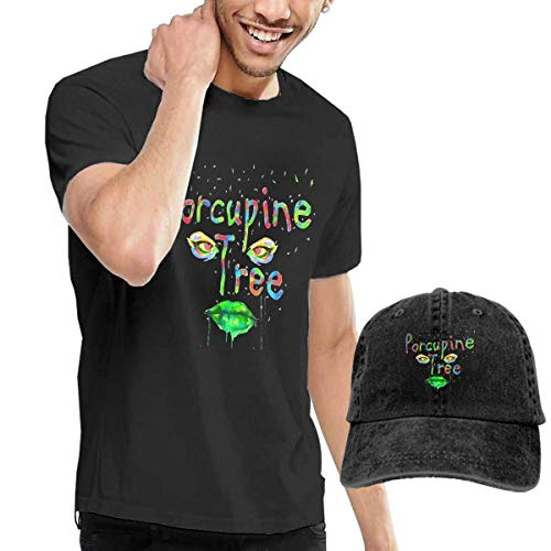 Thimd Camiseta de Manga Corta para Hombre,Gorra de béisbol Combinación Negro Porcupine Tree Tshirt and Washed Denim Baseball Dad Caps Black