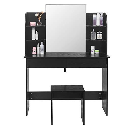 WOLTU MB6044sz Coiffeuse Table de Maquillage avec Miroir Plateau avec Tabouret, 108x40x142cm, Noir