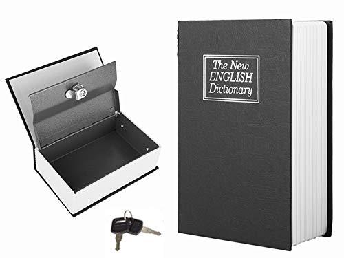 Caja fuerte de libro con cerradura de llave, caja secreta de diccionario secreto de libro secreto en inglés Caja de almacenamiento de colección segura de joyas de libro para dinero privado, joyas, car