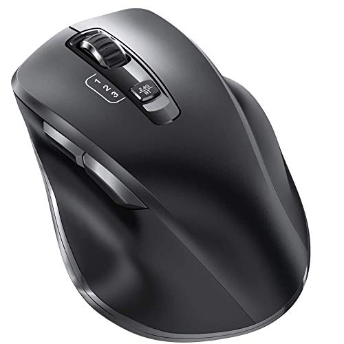 Bluetooth Mouse, Vogek Wireless Computer Mouse - Easily Switch Up to 3 Devices with 3 Levels Adjustable DPI Portable Noiseless Optical 2.4GHz Bluetooth Mice for Laptop iPad/Windows/Mac/Android