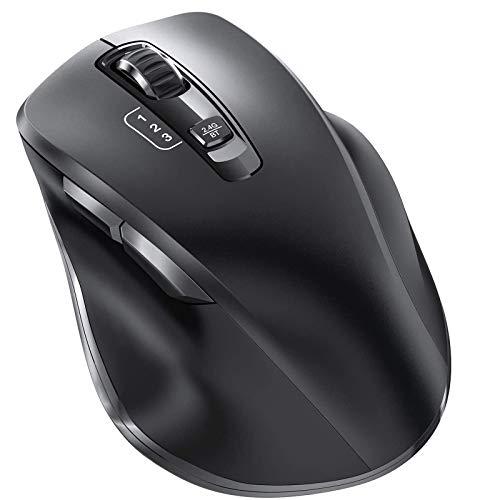 Bluetooth Maus, Vogek 2.4Ghz+Bluetooth Kabellose Mouse USB Verbindung Wireless Optische Bluetooth Maus 3 Einstellbare DPI leise Funkmaus für PC/Tablet/Laptop und Windows/Mac/Linux/Android/iOS/iPadOS