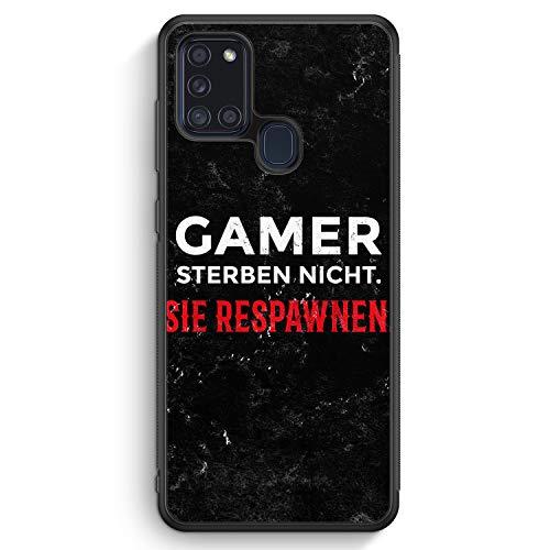 Gamer Sterben Nicht - Sie Respawnen - Silikon Hülle für Samsung Galaxy A21s - Motiv Design Spruch Jungs Männer Cool Lustig Witzig - Cover Handyhülle Schutzhülle Hülle Schale