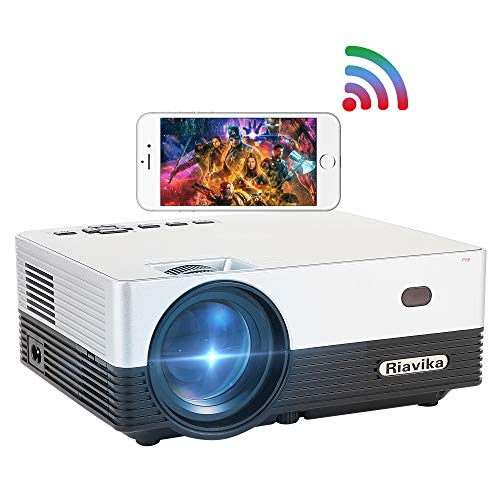 Riavika 6000 Lux Projector with Synchronize Smart Phone Screen, Full HD 1080P and 120'' Display Supported,50,000Hrs LED Life and Portable Projector Compatible with HDMI,USB,TF,AV,VGA,PS4