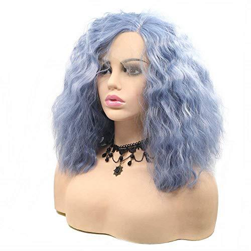 Blauwe korte golf haar vrouwelijke zomer synthetische lace front pruiken voor vrouwen natuurlijke haarlijn