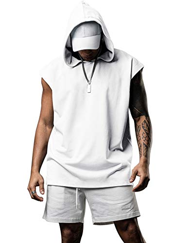 Poriff Men's Workout Hooded Tank Tops Bodybuilding Muscle Shirts Sleeveless Gym Hoodies