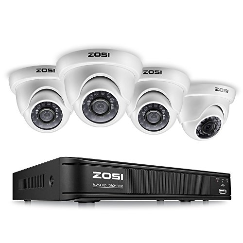 ZOSI 1080p Surveillance Camera System for Home, 8 Channel Security DVR Recorder with 4Pcs...