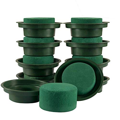 TURMIN DIY Flower Arrangement Kit Green Round Wet Floral Foam in Single Design Bow for Table Centerpiece Wedding Aisle Flowers Party Decoration-10 PCS