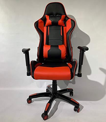 Gamingstoel zwart rood, Gamestoel, Bureaustoel, in hoogte verstelbaar, 5 zwenkwielen, 64 x 135 x 53 cm