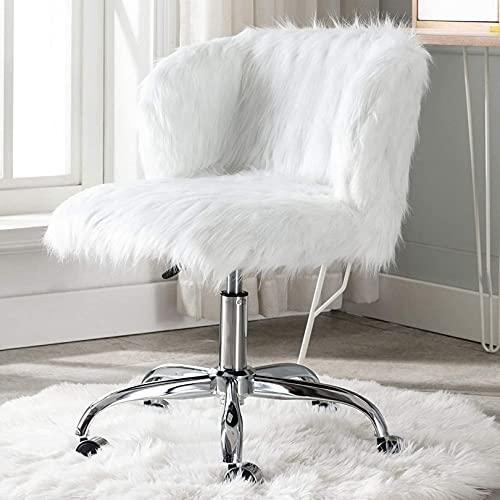 WWJ White Fuzzy Vanity Chair com as Costas fofas Cadeiras de Mesa de escritório em casa com rodas Confortável cadeira de trabalho sem braço para Adolescentes Quarto de maquiagem para Meninas
