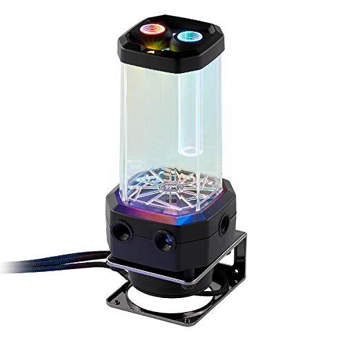 Corsair Hydro X Series, XD5 RGB Pack de Bomba/Depósito (Alto Rendimiento Xylem D5 PWM Bomba, Integrado Puert Relleno, Supervisión de Temperatura en El Bucle, Personalizable Iluminación RGB) Negro