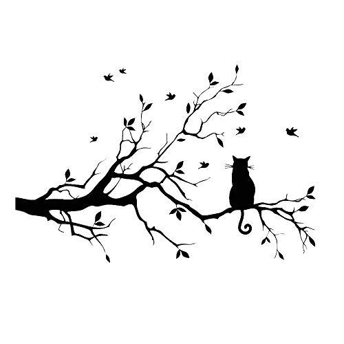 CUNYA Pegatinas de pared de 57,9 x 38,1 cm con ramas de árbol negro, hojas de guardería, vinilo extraíble, para decoración del hogar para sala de estar, dormitorio y casa de campo (gato)