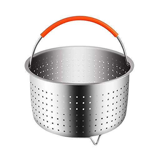 Sturdy Steamer Basket for in-stant Pot Pressure Cooker, Stainless Steel Steamer Insert with Silicone Covered Handle, Great Accessory for wash Vegetables Steaming Fruits Eggs