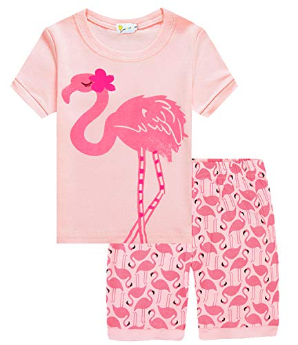 Little Girls Flamingos Pajamas Sets Cute Short Jammies Kids Pjs Sleepwear Toddler Summer Clothes for 7T