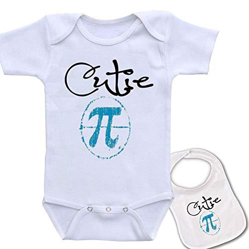 Cutie Pi (Pie) Unique Baby Bodysuit Onesie by Igloo & Matching bib White