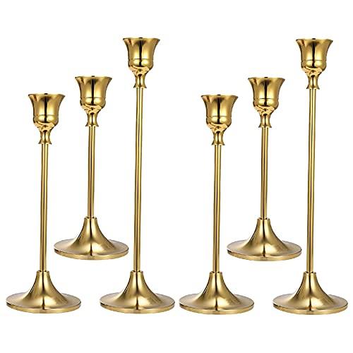 tellaLuna 6 portavelas de oro con forma cónica, para decoración del hogar