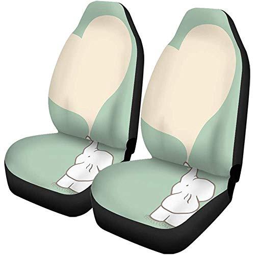 Autostoelhoezen Blue Baby Elephant Green Cute White Day Love schattige set met 2 beschermers universele pasvorm voor auto-UV