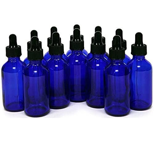 FTFTO Living Equipment - 8 Botellas de Vidrio Azul Cobalto de 50 ml con goteros para los Ojos Botellas de Aceite Esencial Botella de pipeta líquida Botellas Recargables (Color: Azul Material: Vidrio)