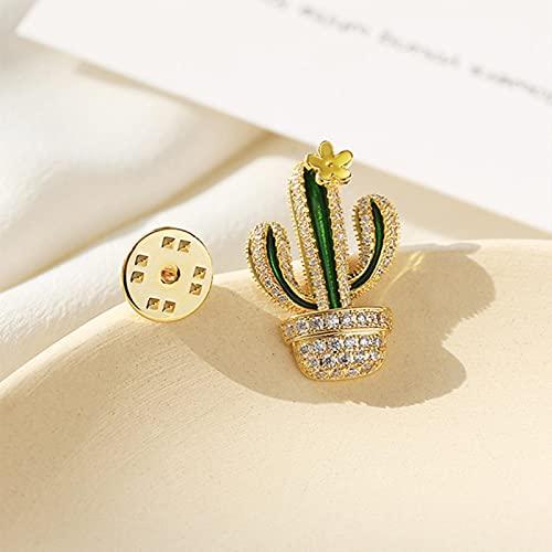 Nuevo diseño 18k Dorado pequeño Collar de Hebilla Pin Lindo Cactus Broche antideslumbrante para Mujeres