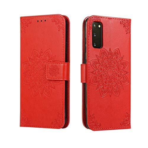 Shockproof LIJM For Galaxy S20 In Reliëf Bloem Van De Caleidoscoop Horizontale Flip Leather Case Met Houder & Card Slots & Wallet (Black) Decoratie (Color : Red)