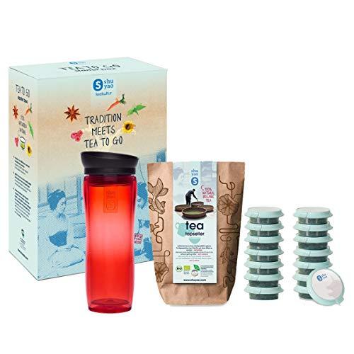 shuyao teekultur Starterbox Tea to Go Thermobecher mit integriertem Teesieb + 5x3 Loser Bio Tee mit Koffein, Rot, 45g