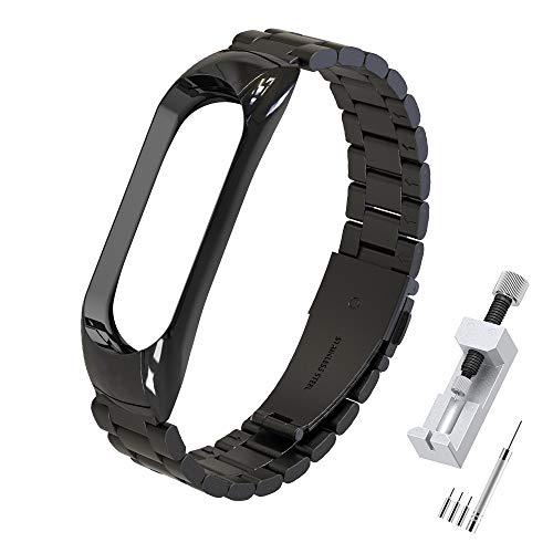 Simpeak Correa Compatible con Xiaomi Mi Band 5/6 (5.5-8.1 Pulgadas), Pulseras de Acero Inoxidable Wristband Repuesto Bandas Compatible con Xiaomi Mi Band 5 Fitness con Cerradura-Negro