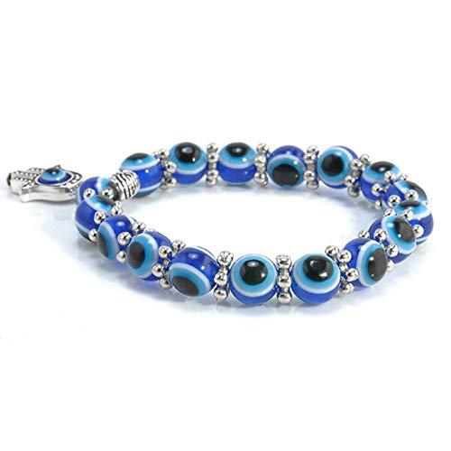 Glück Armband Blaue Augen,Hand der Fatima mit Blauem Auge Türkischer Glücksbringer,für Frauen und Männer Geschenke Schmuck