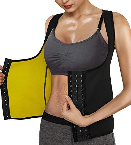 CRXL shop-Mantas Eléctricas Faja Reductora Mujer Camisetas Sauna Chaleco Neopreno de Sudoración para Deporte Quema Grasa Cierre de Gancho (Color : Black, Size : M)