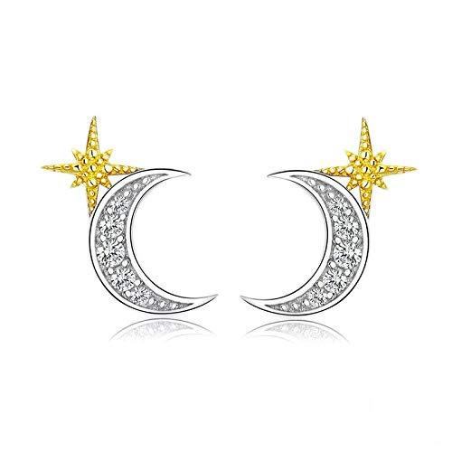Pendientes De Plata De Ley 925 Con Estrellas Doradas Y Lunares Para Mujer, Pendientes Pequeños De Circón Para Boda, Joyería De Compromiso
