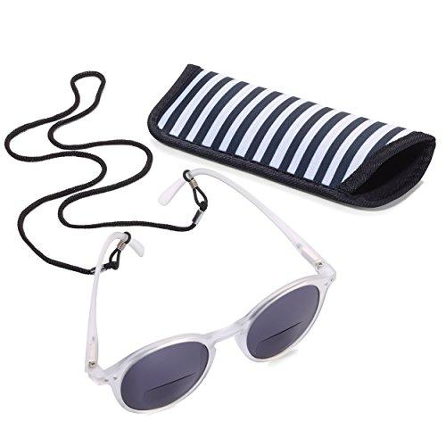 TROIKA Sun Reader 2 – SUR25/WH – Gafas de Sol y Lectura graduación +2,50 dpt – bifocal – con Estuche – policarbonato/acrílico/Microfibra – Blanco – TROIKA-Original