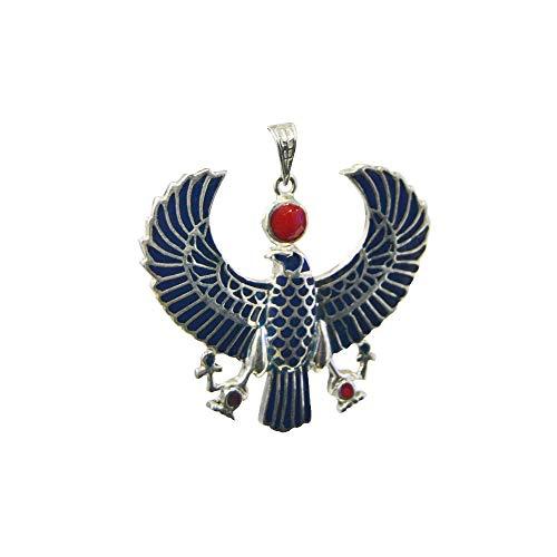 Horus Colgante Egipcio de Plata de Ley esmaltado, Amuleto del Dios de