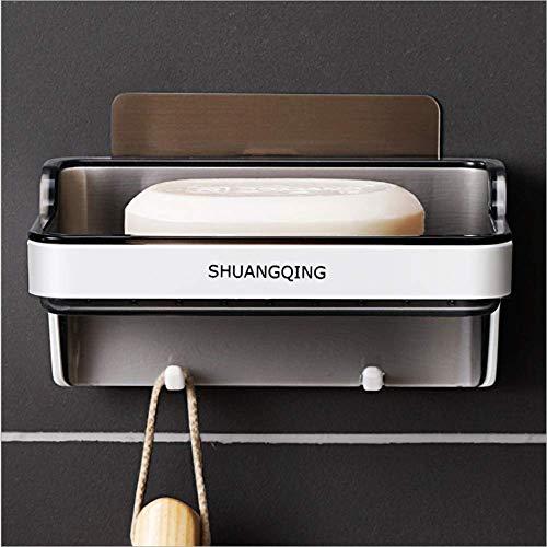 ZiQE Jabonera para colgar esponja y maquinilla de afeitar, sin taladrar adhesivo montado en la pared, soporte de jabón para baño, cocina, sin taladrar
