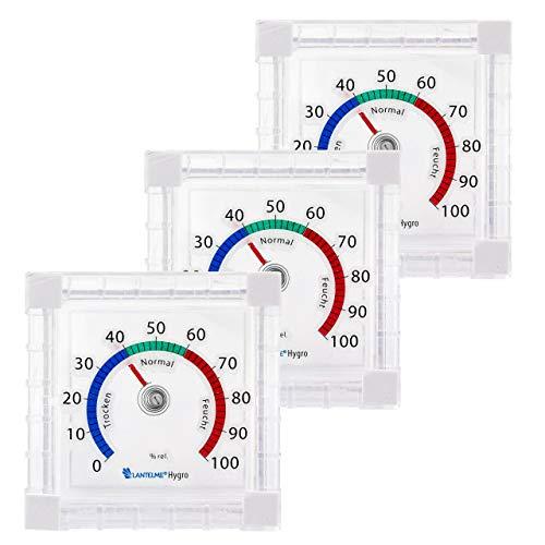 Lantelme Fenster Hygrometer 3 Stück Set Selbstklebend Luftfeuchte Analog Feuchtemesser Luftfeuchtigkeit 6707