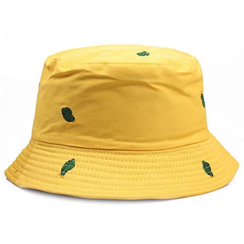 ZHYAODAI Stickerei Kakteen Wanne Hut Unisex Chapeau Mode Angeln Hat Frauen Männer Sommer Sun Cap Gelb Outdoor Freizeitaktivitäten Beach Hut
