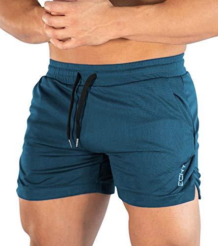 Superora Homme Shorts Sport Short Course a Pied Leger Respirant Sechage Rapide avec Poches,L,Bleu