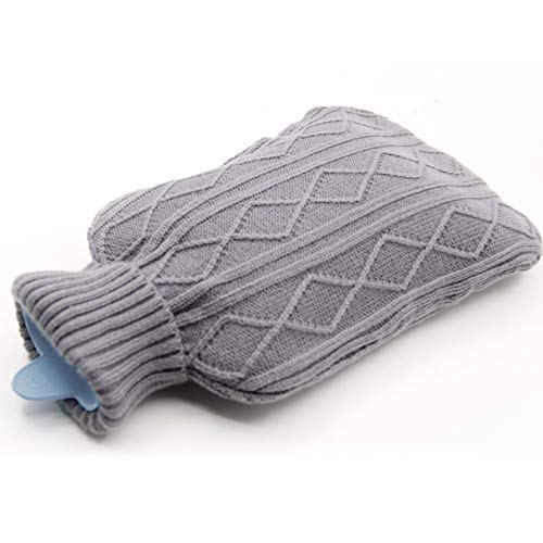 Samione Hot Water Bottle, Hot water bag With Soft Fleece Removable Cover 2L (Grey)
