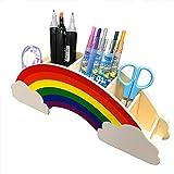 YUEMA Organizador de escritorio de arcoíris con pegatinas de estrellas decoración creativa de bricolaje suministros de papelería almacenamiento de maquillaje portalápices