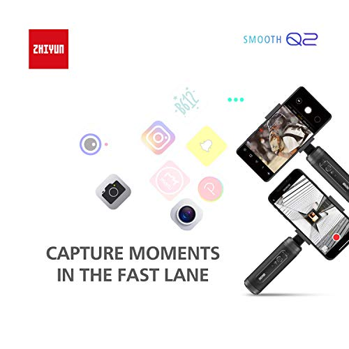ZHIYUN Smooth Q2 3-Axis Handheld Gimbal Pocket Stabilizer for Smartphone iPhone 11 Pro Xs X 8 Plus Android Samsung S10,Action Camera,Gopro,Vortex Mode,16Hrs Run-Time,260g Payload(Smooth Q Upgrade Ver)