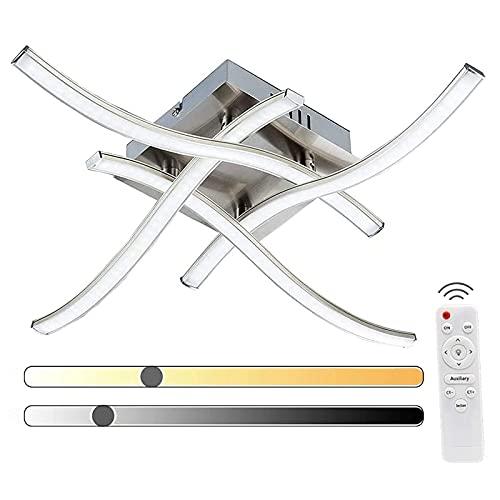 Plafoniera LED Dimmerabile Elegante Design Curvo Plafoniera LED 4 Schede LED Integrate 24W 2000lm Plafoniera Moderna in Metallo per Soggiorno Camere da Letto
