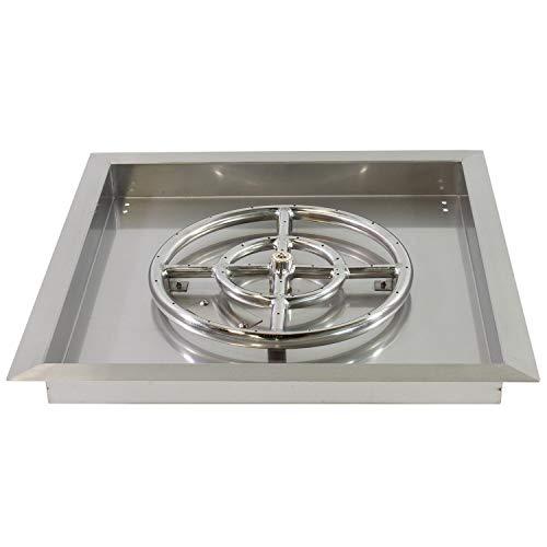 Celestial Fire Glass 18' X 18' Stainless Steel Drop-in Fire Pit Pan w/ 12' Burner