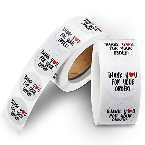 1000 Pegatinas de Negocios de Corazón de Thank You for Your Order Etiquetas Adhesivas de Sello Hecho a Mano para Mminoristas en Línea, Boutiques, Tarjetas de Felicitación, Paquetes, Bolsas de Dulces