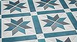 MoonStickers Adhesivos de Azulejos - Paquete de 10 Baldosas - 10 Baldosas Individuales - Baldosas Adhesivas (10 x 10 cm, French Blue and Grey Azulejo Adhesivo)